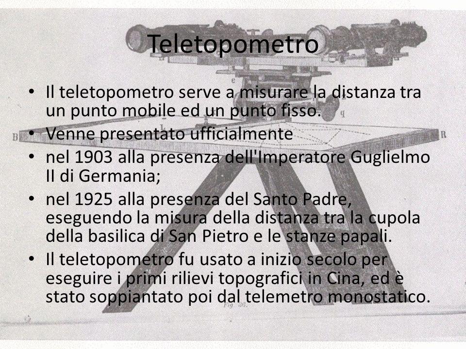 Teletopometro Il teletopometro serve a misurare la distanza tra un punto mobile ed un punto fisso. Venne presentato ufficialmente.