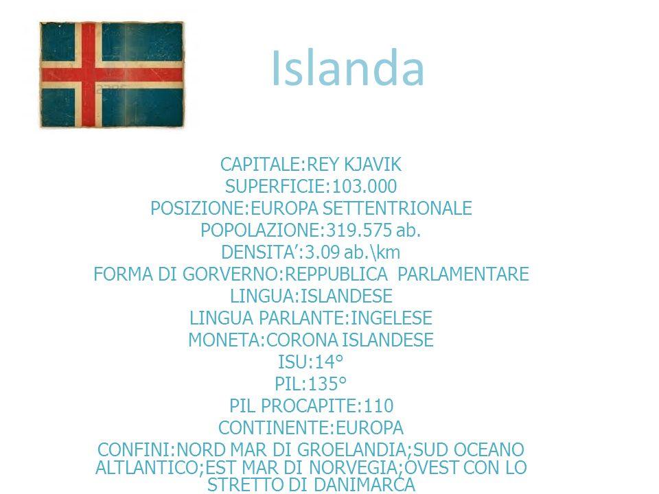 Islanda CAPITALE:REY KJAVIK SUPERFICIE:103.000