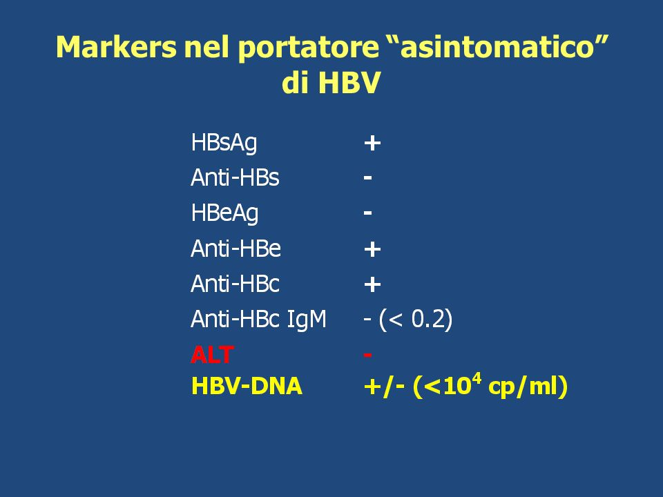 Markers nel portatore asintomatico di HBV