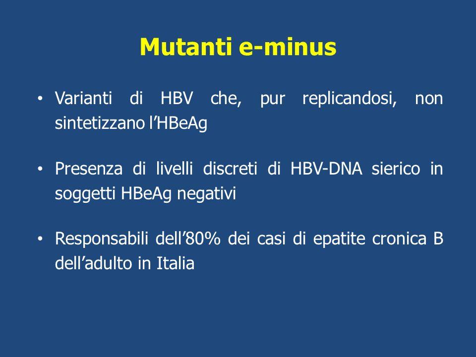 Mutanti e-minus Varianti di HBV che, pur replicandosi, non sintetizzano l'HBeAg.