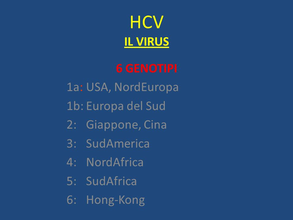 HCV IL VIRUS 6 GENOTIPI 1a: USA, NordEuropa 1b: Europa del Sud