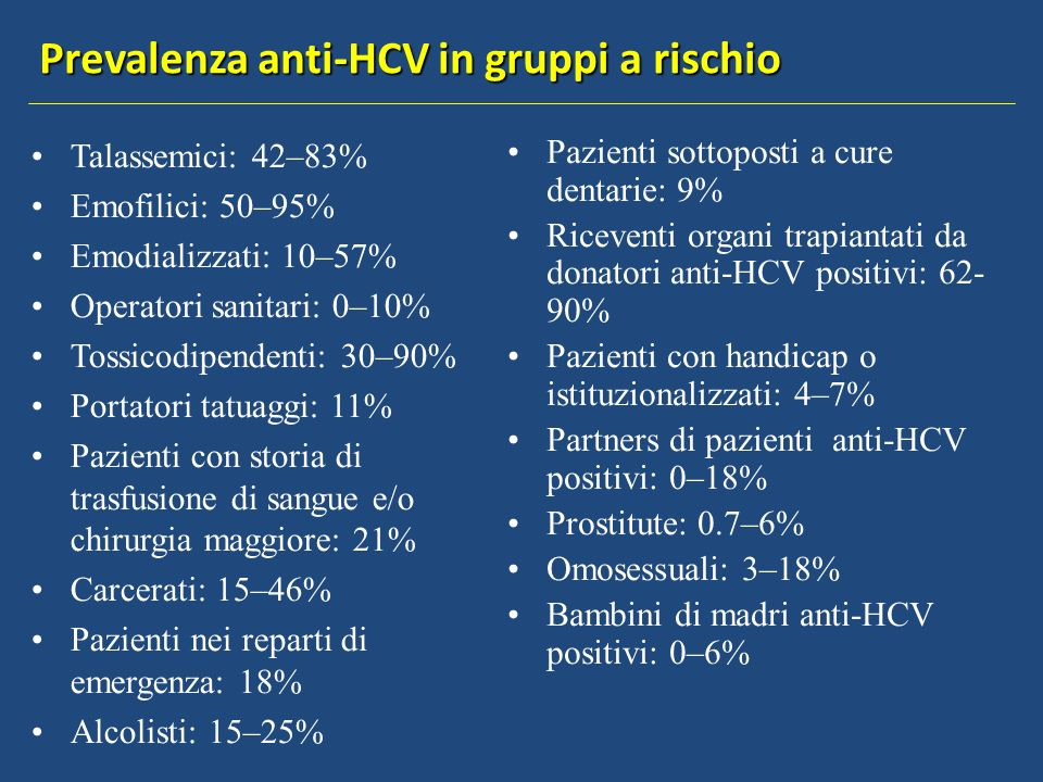 Prevalenza anti-HCV in gruppi a rischio