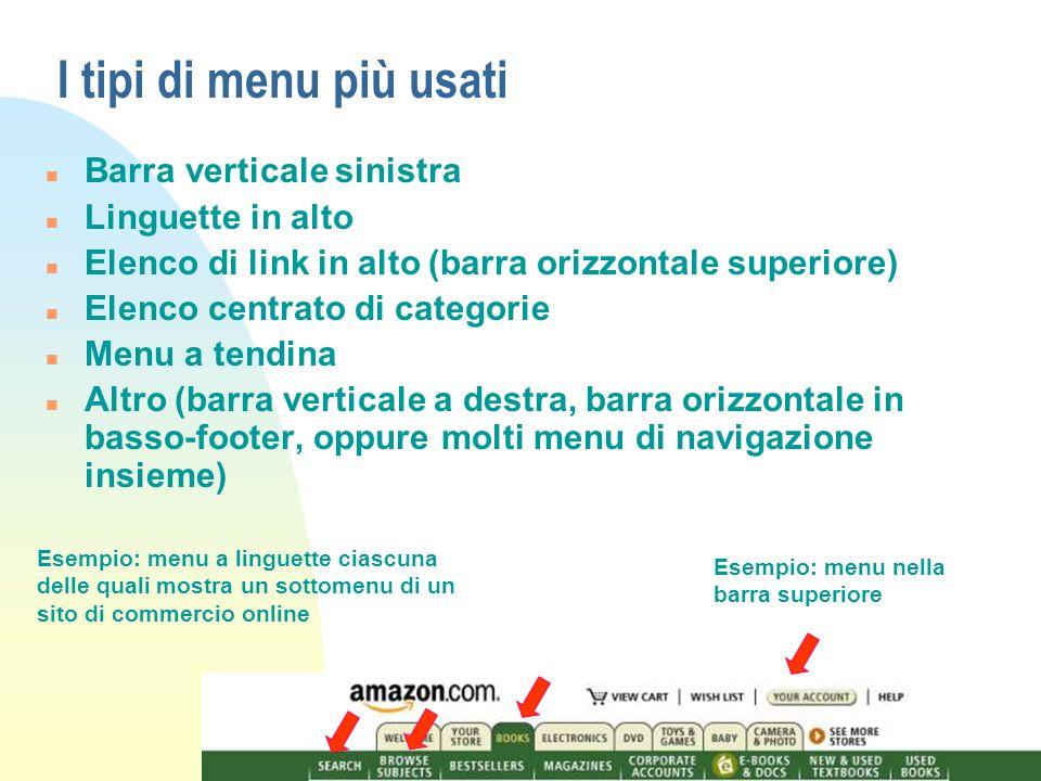 I tipi di menu più usati Barra verticale sinistra Linguette in alto