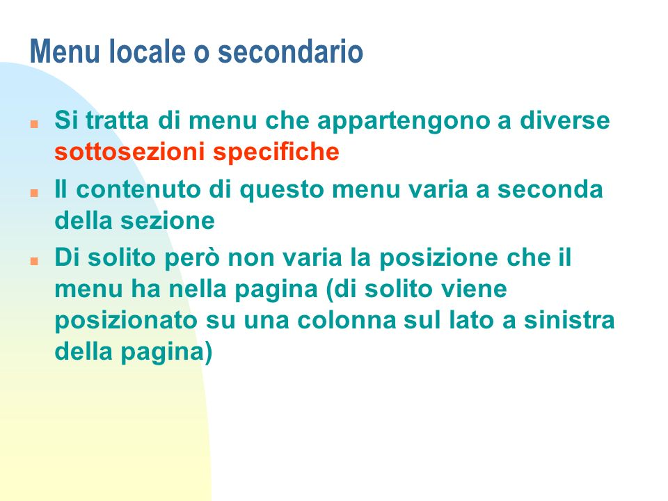Menu locale o secondario