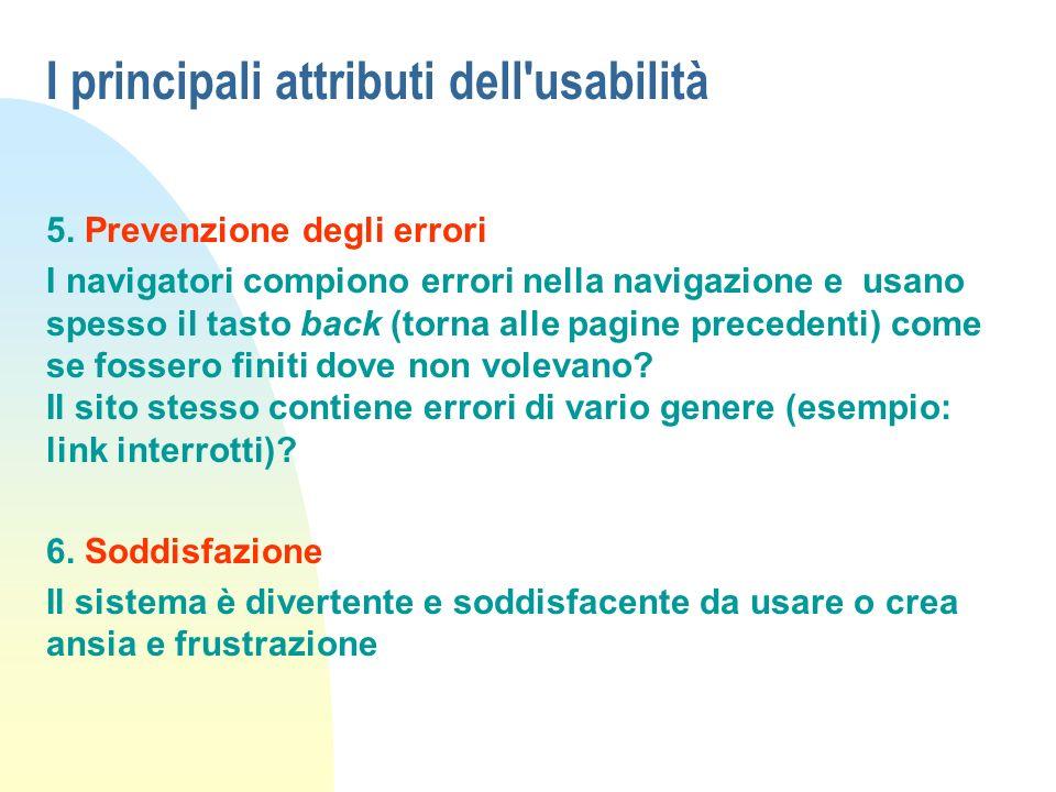 I principali attributi dell usabilità