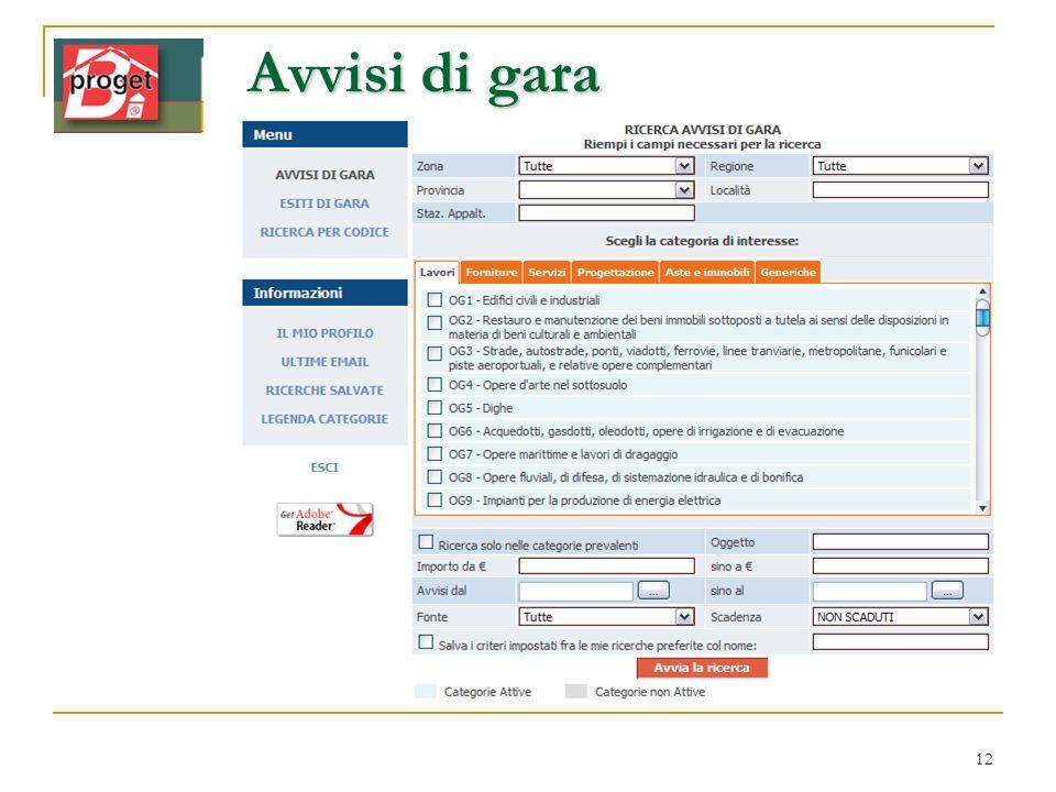 Avvisi di gara Ricerca Arianna www.infordat.it