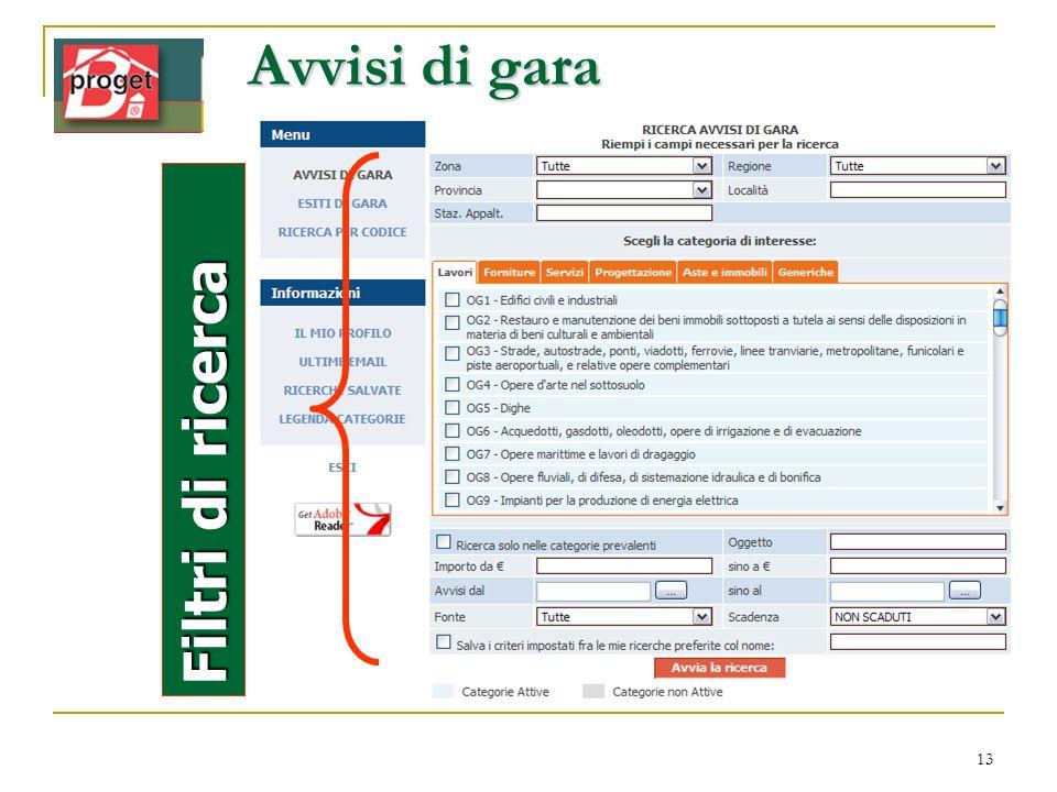 Avvisi di gara filtri Filtri di ricerca www.infordat.it