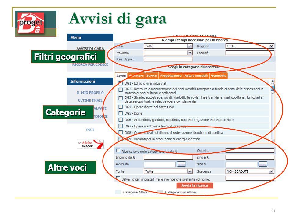 Avvisi di gara Filtri geografici Categorie Altre voci www.infordat.it