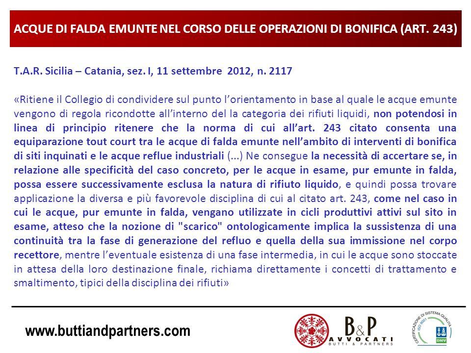 ACQUE DI FALDA EMUNTE NEL CORSO DELLE OPERAZIONI DI BONIFICA (ART. 243)