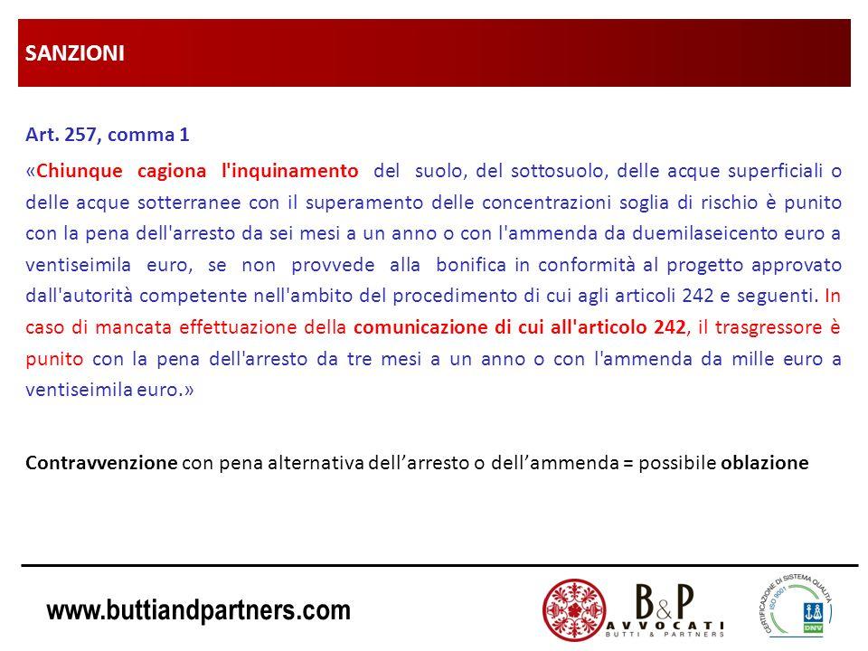 SANZIONI Art. 257, comma 1.