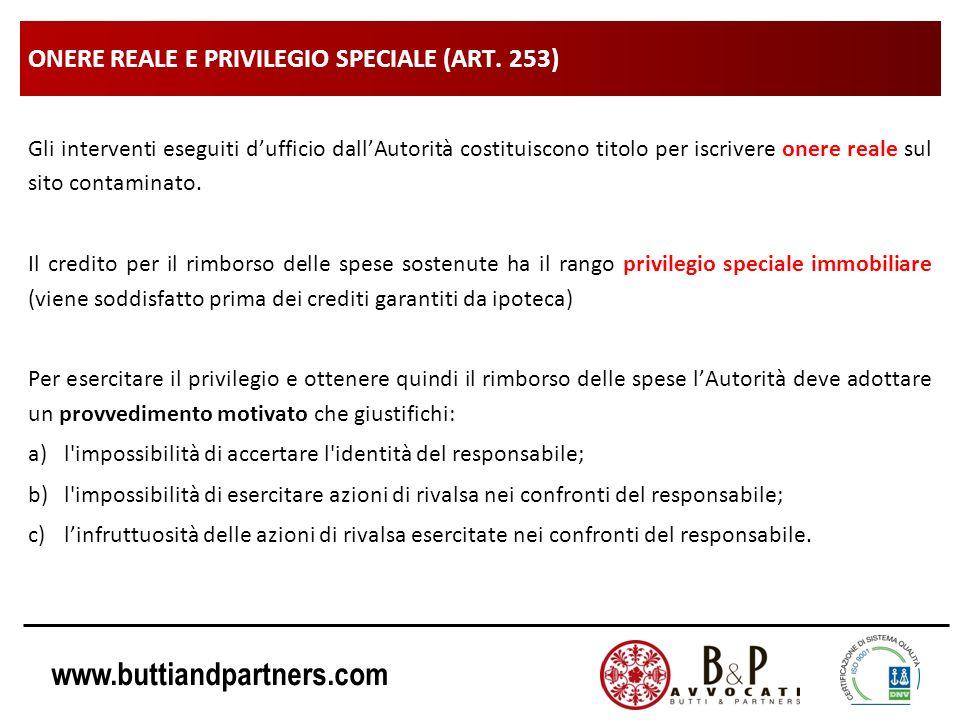 ONERE REALE E PRIVILEGIO SPECIALE (ART. 253)