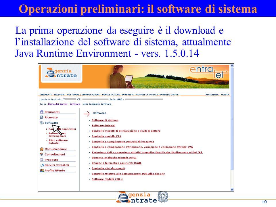 Operazioni preliminari: il software di sistema
