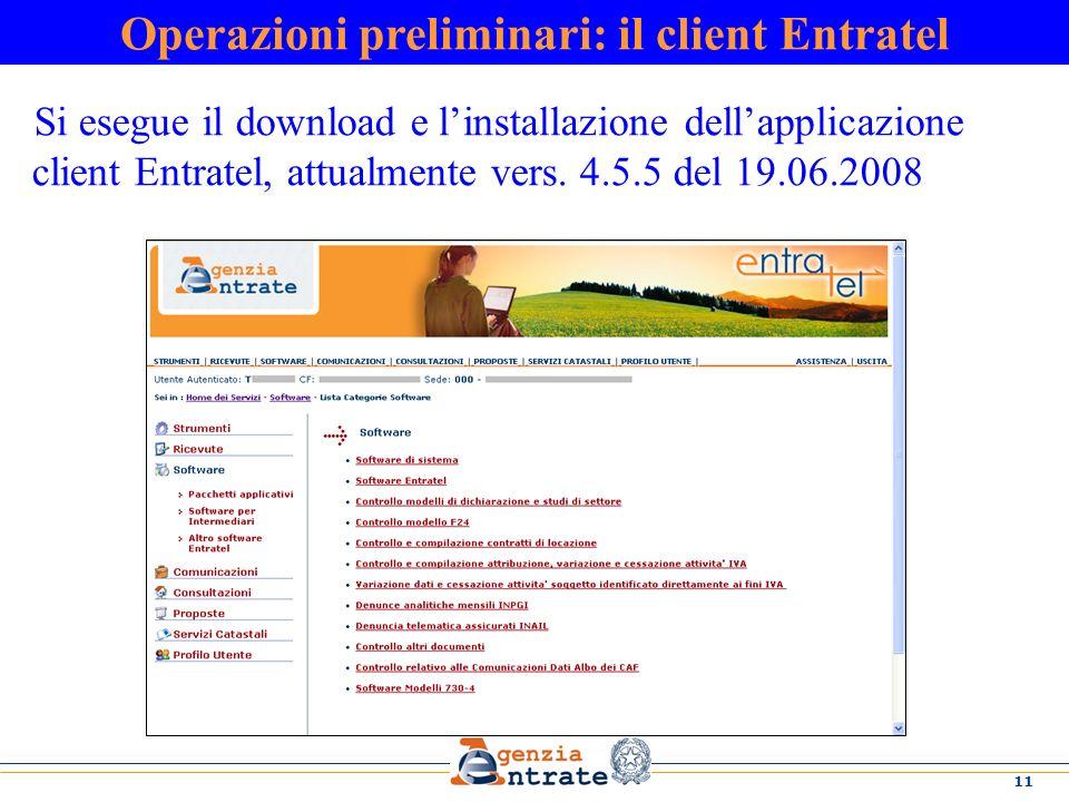 Operazioni preliminari: il client Entratel
