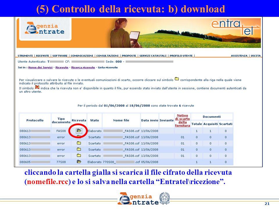 (5) Controllo della ricevuta: b) download