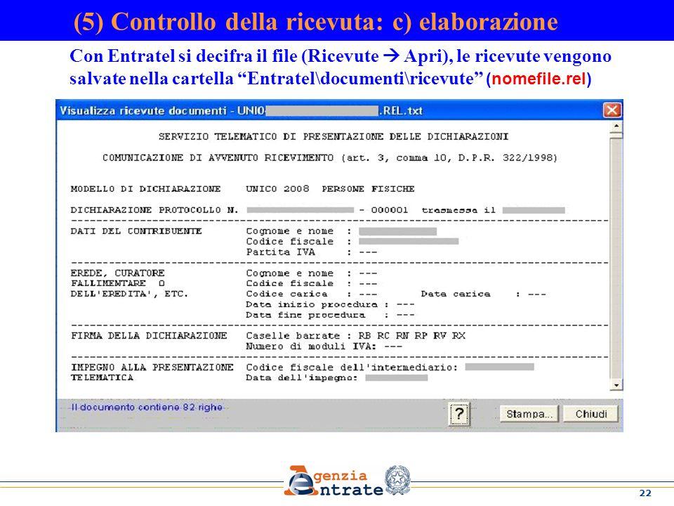 (5) Controllo della ricevuta: c) elaborazione
