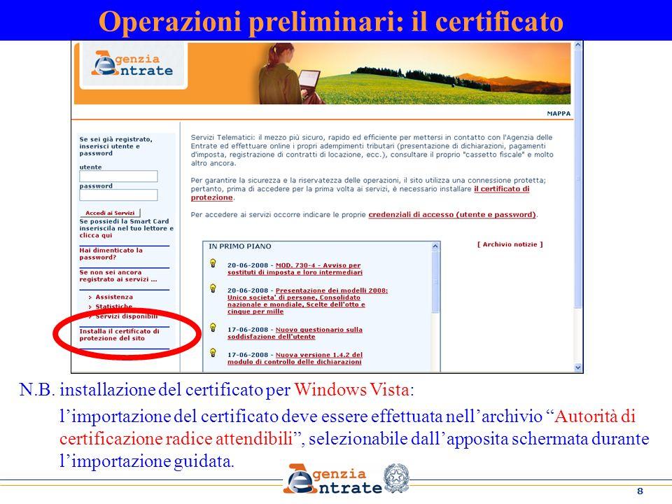 Operazioni preliminari: il certificato