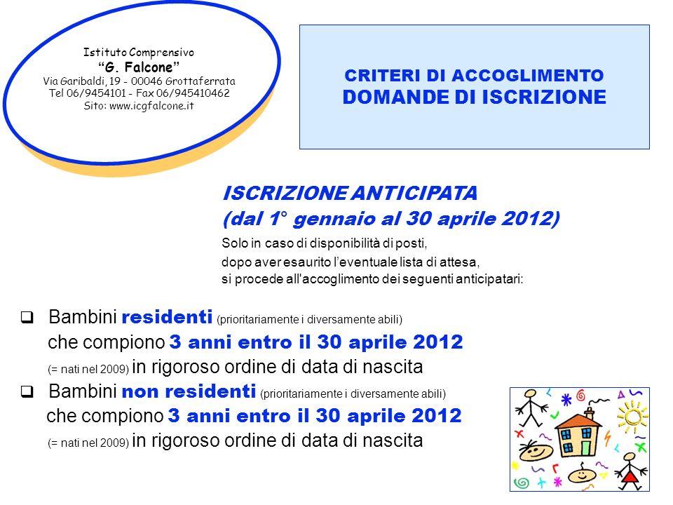 CAMPI DI ESPERIENZA (dal 1° gennaio al 30 aprile 2012)