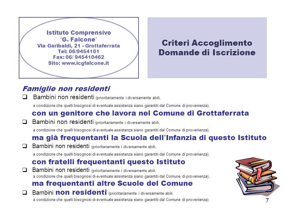 Criteri Accoglimento Domande di Iscrizione Famiglie non residenti