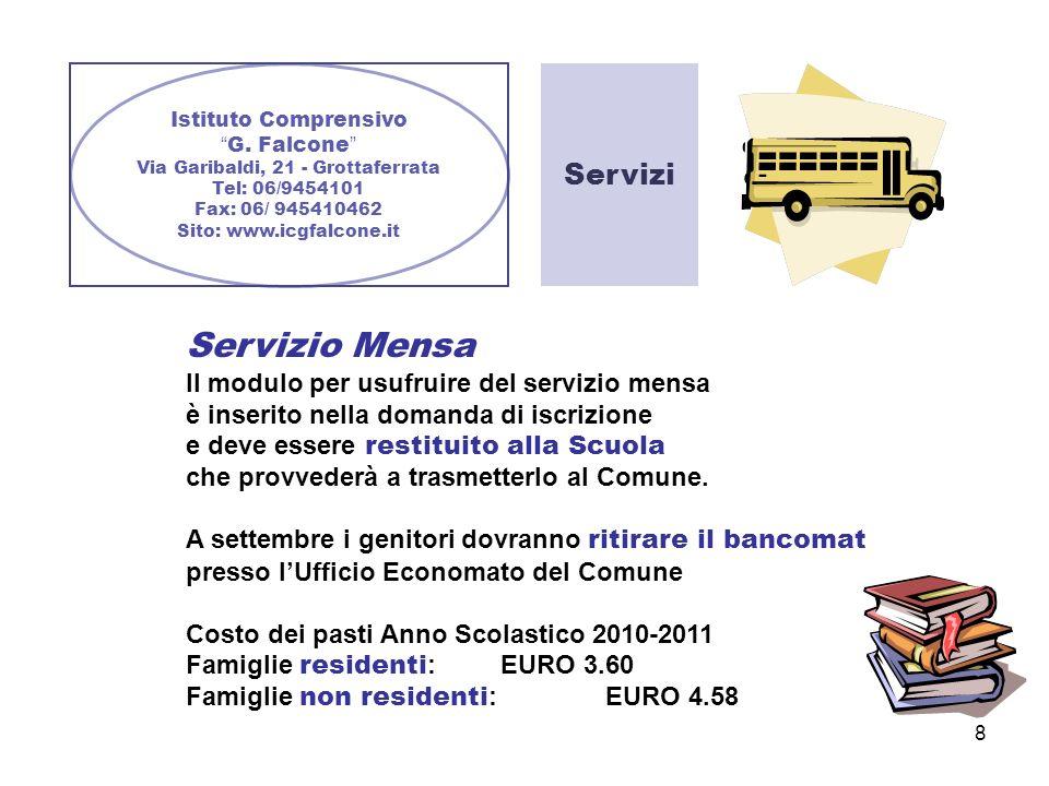 Servizi Servizio Mensa Il modulo per usufruire del servizio mensa