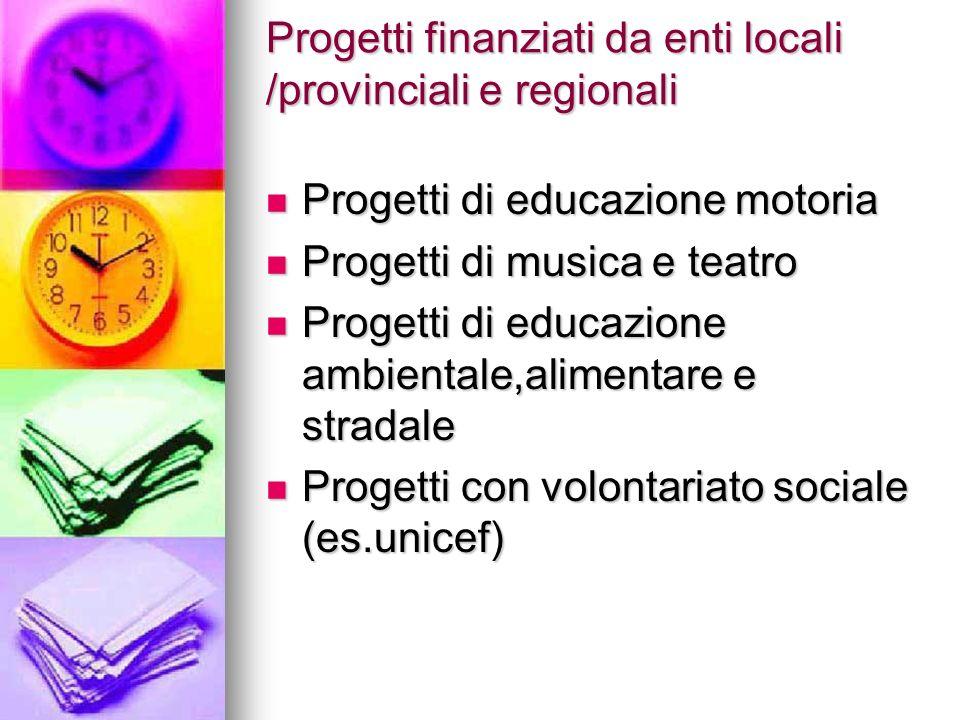 Progetti finanziati da enti locali /provinciali e regionali