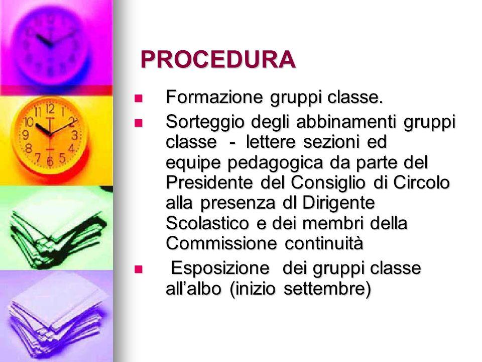 PROCEDURA Formazione gruppi classe.