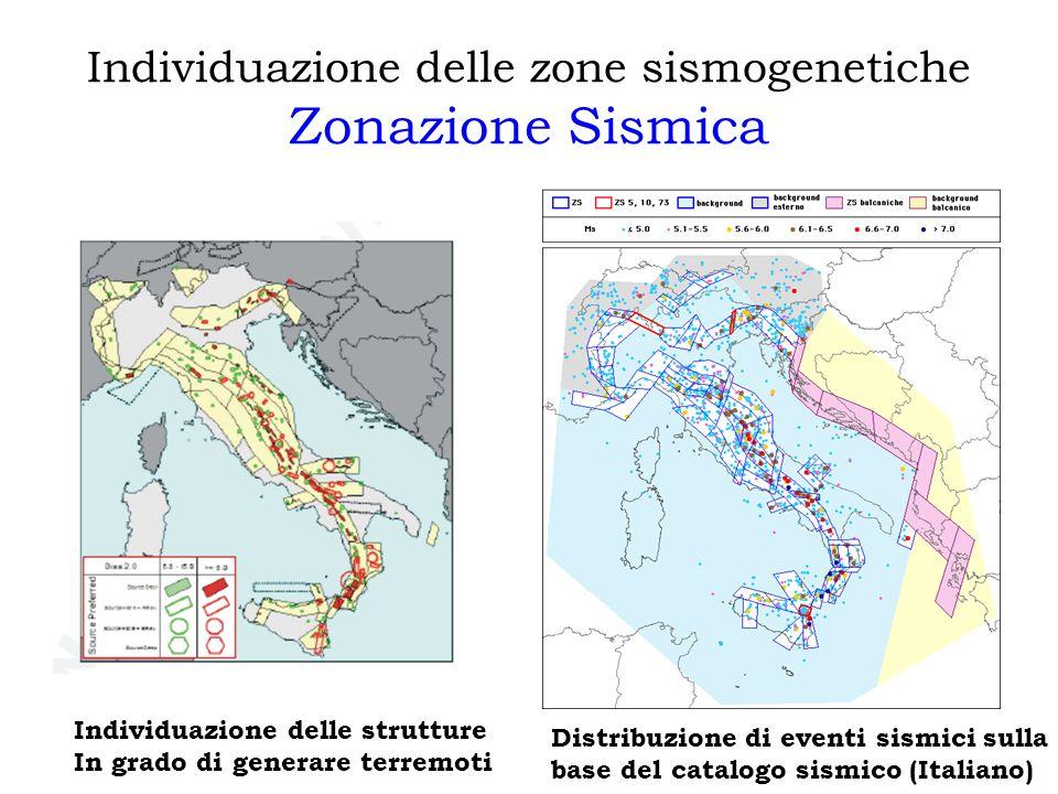 Individuazione delle zone sismogenetiche Zonazione Sismica