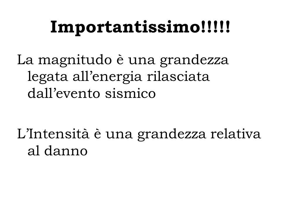 Importantissimo!!!!! La magnitudo è una grandezza legata all'energia rilasciata dall'evento sismico.