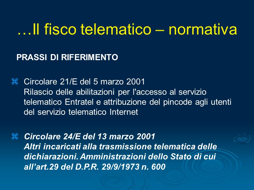 …Il fisco telematico – normativa