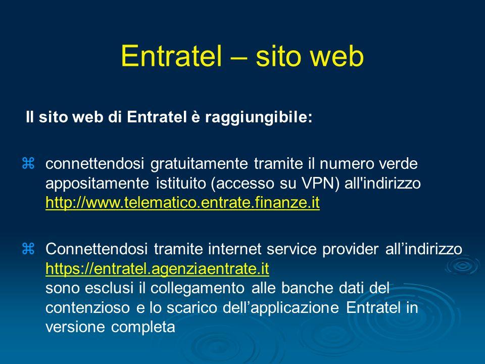Entratel – sito web Il sito web di Entratel è raggiungibile: