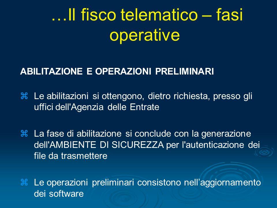 …Il fisco telematico – fasi operative