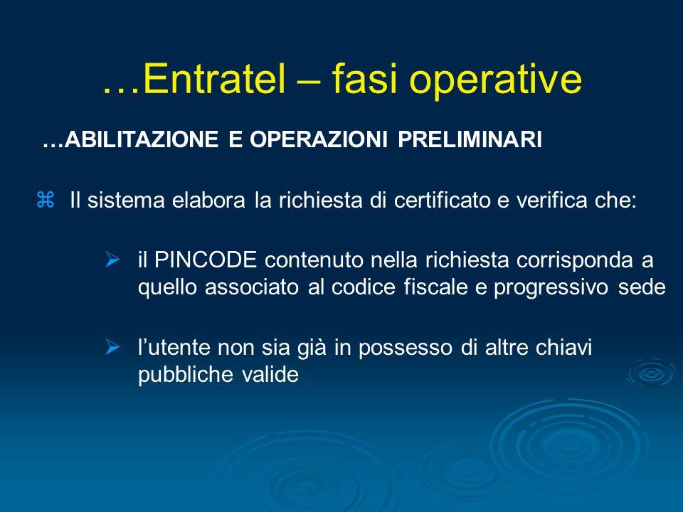 …Entratel – fasi operative
