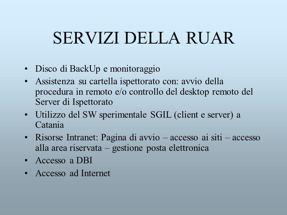 SERVIZI DELLA RUAR Disco di BackUp e monitoraggio