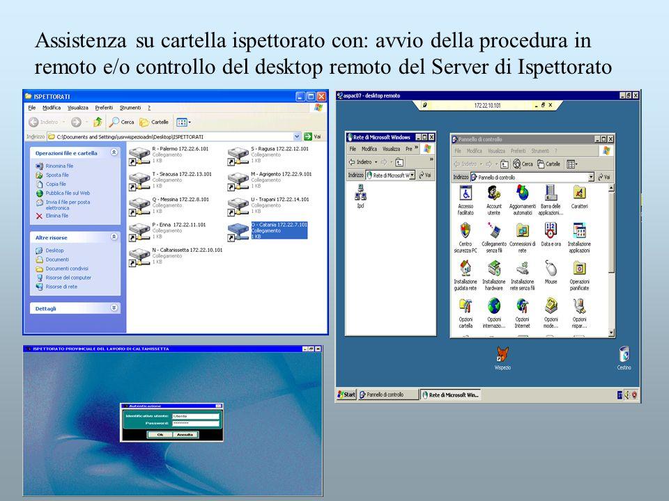 Assistenza su cartella ispettorato con: avvio della procedura in remoto e/o controllo del desktop remoto del Server di Ispettorato
