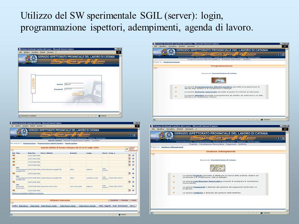 Utilizzo del SW sperimentale SGIL (server): login, programmazione ispettori, adempimenti, agenda di lavoro.