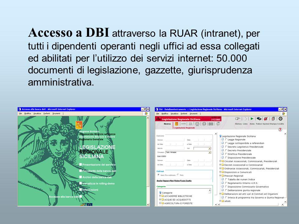 Accesso a DBI attraverso la RUAR (intranet), per tutti i dipendenti operanti negli uffici ad essa collegati ed abilitati per l'utilizzo dei servizi internet: 50.000 documenti di legislazione, gazzette, giurisprudenza amministrativa.
