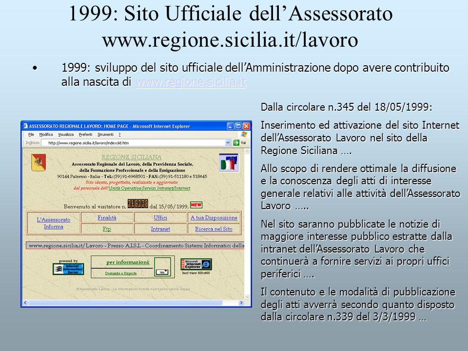 1999: Sito Ufficiale dell'Assessorato www.regione.sicilia.it/lavoro