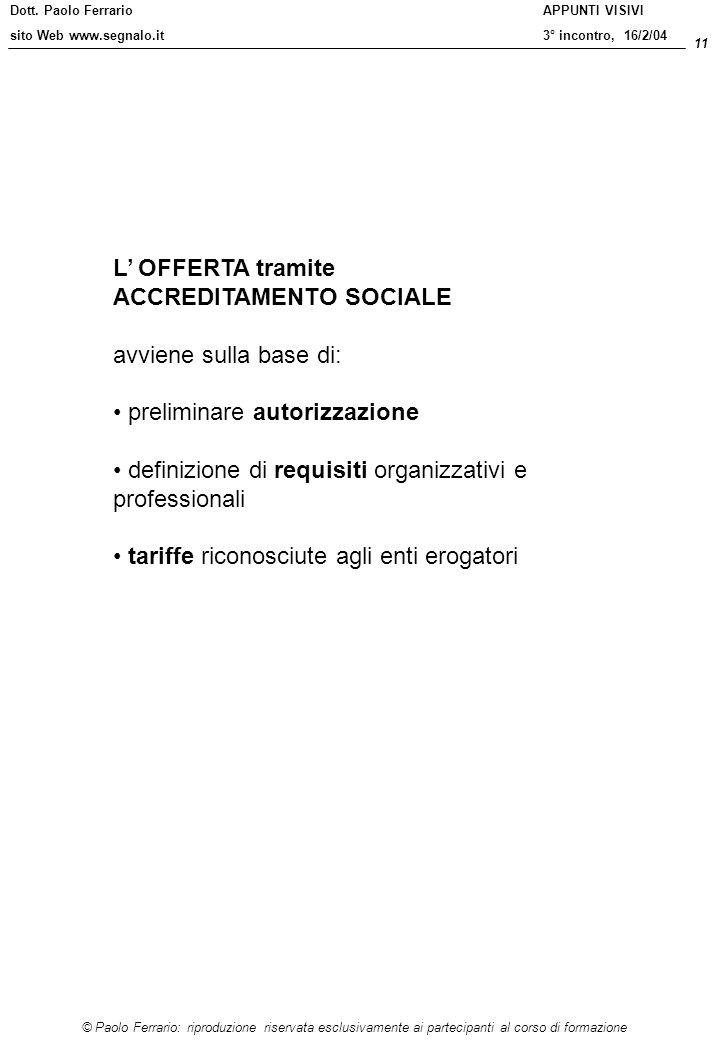 L' OFFERTA tramite ACCREDITAMENTO SOCIALE. avviene sulla base di: preliminare autorizzazione.