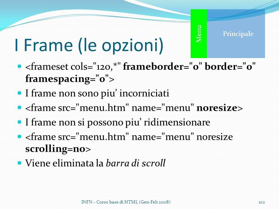 Principale Menu. I Frame (le opzioni) <frameset cols= 120,* frameborder= 0 border= 0 framespacing= 0 >
