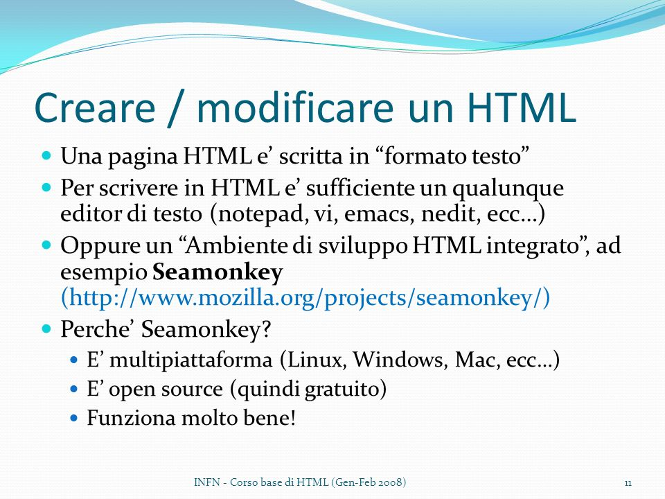 Creare / modificare un HTML