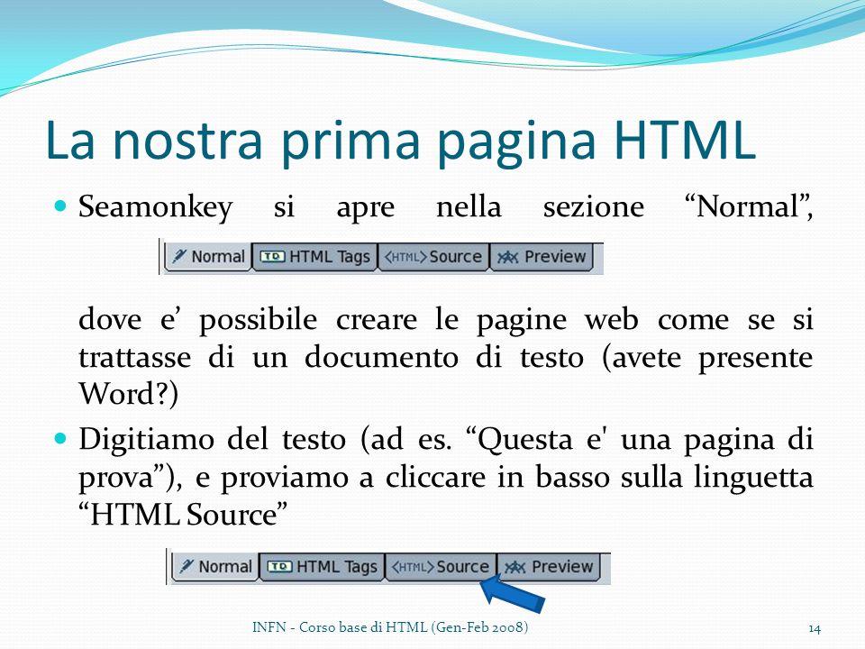 La nostra prima pagina HTML