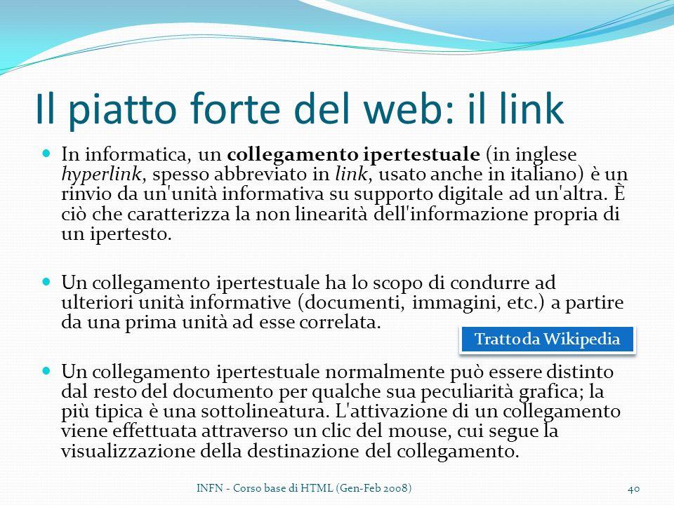 Il piatto forte del web: il link