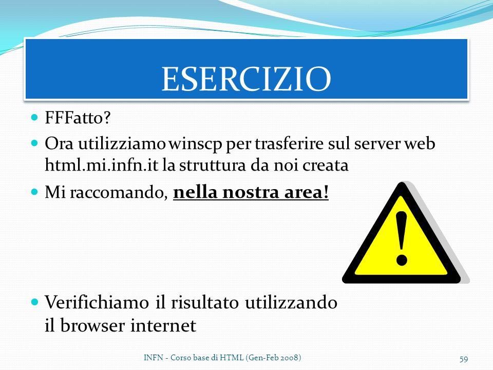 ESERCIZIO Verifichiamo il risultato utilizzando il browser internet
