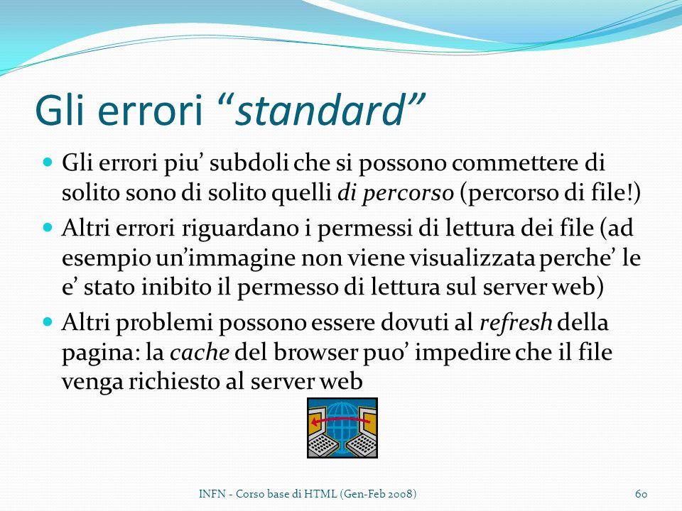 Gli errori standard Gli errori piu' subdoli che si possono commettere di solito sono di solito quelli di percorso (percorso di file!)