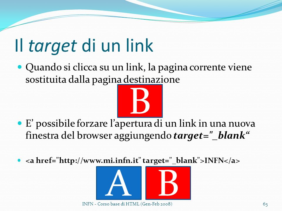 B A A B Il target di un link