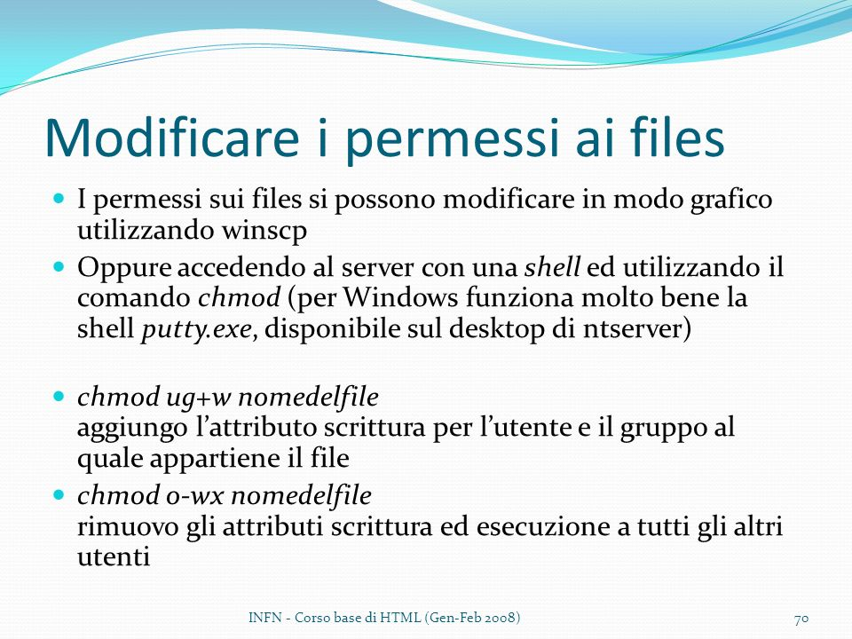 Modificare i permessi ai files