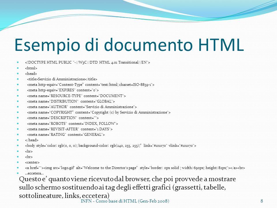 Esempio di documento HTML
