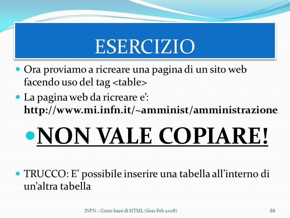NON VALE COPIARE! ESERCIZIO