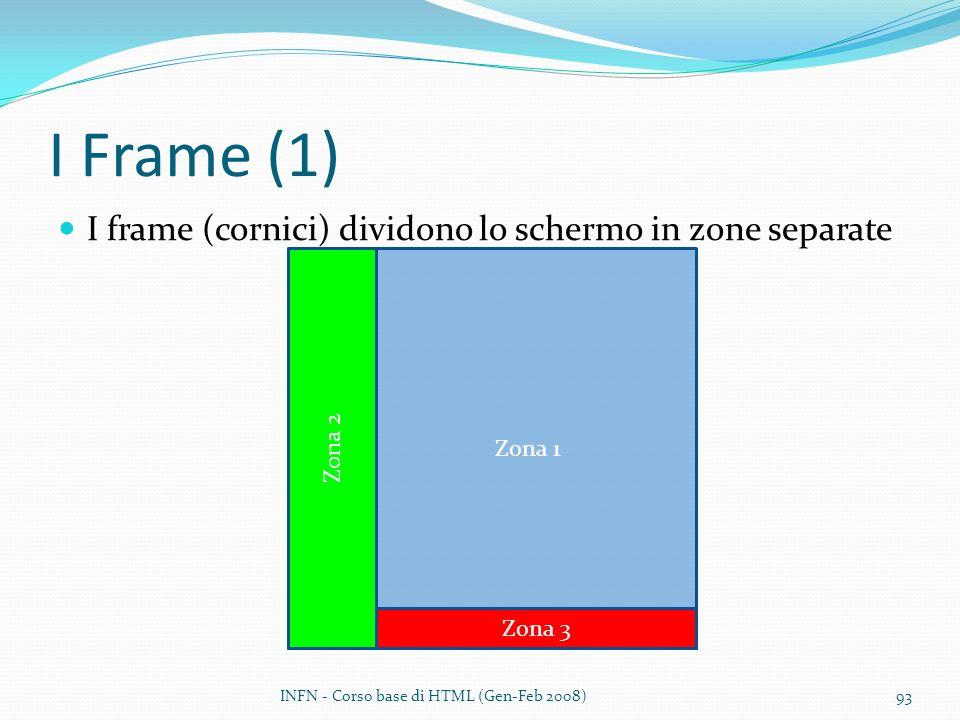 I Frame (1) I frame (cornici) dividono lo schermo in zone separate