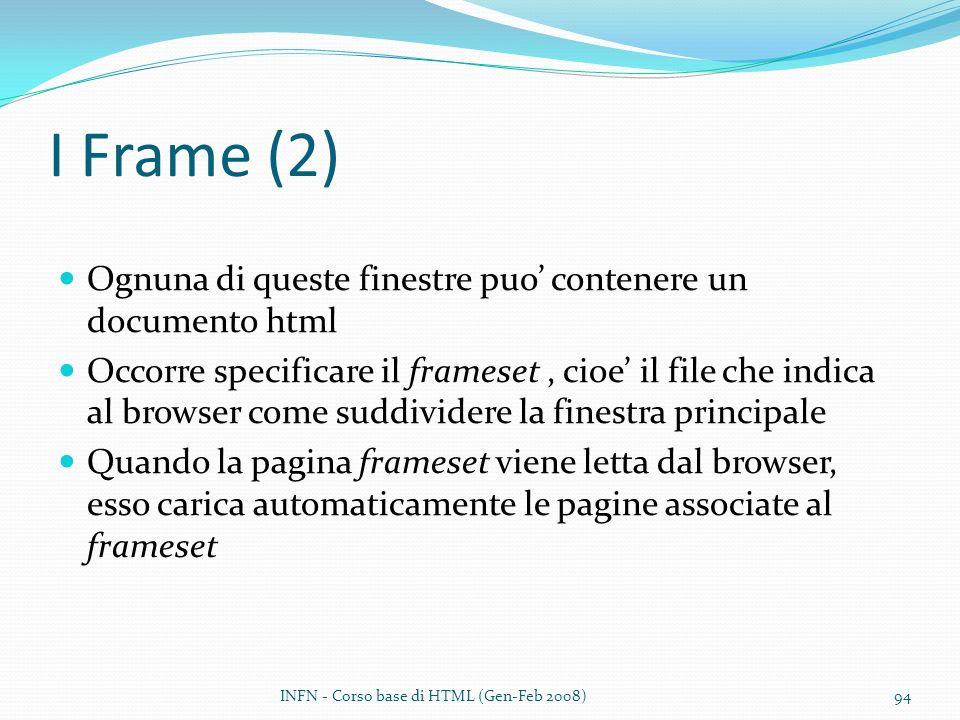I Frame (2) Ognuna di queste finestre puo' contenere un documento html