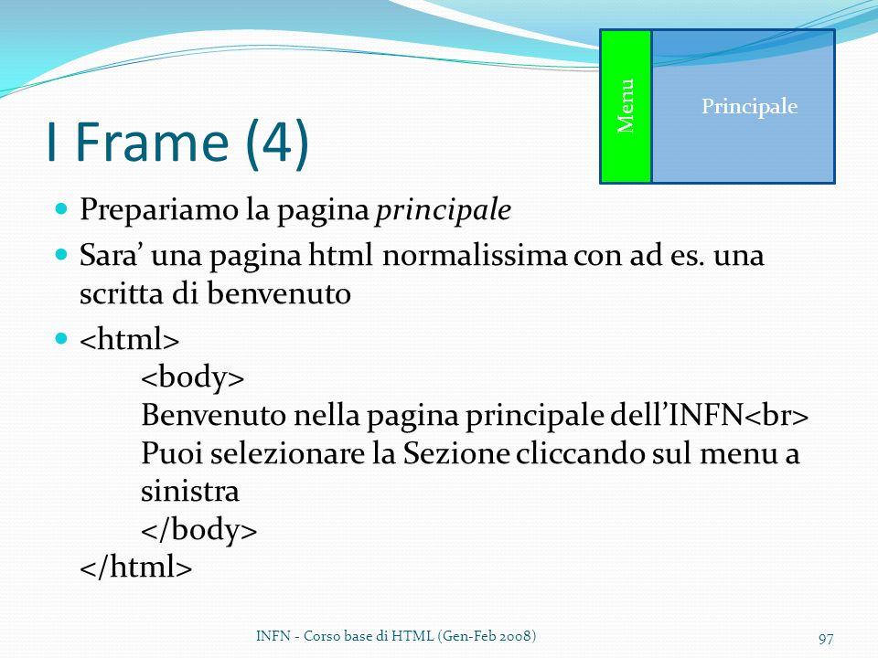 I Frame (4) Prepariamo la pagina principale